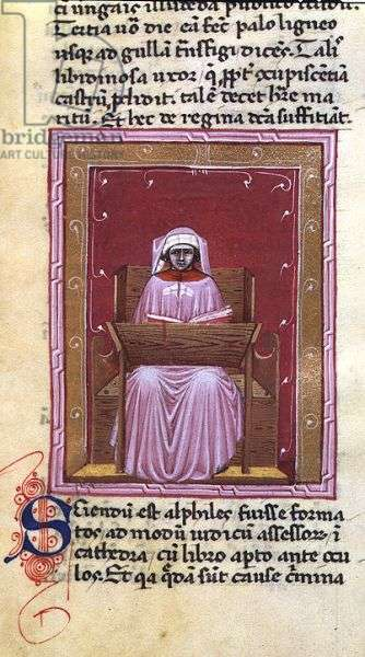 Ms 286/1075 fol.7r Judge, from the Latin edition of 'Libellus de Moribus' written by Jacques de Cessoles (vellum)