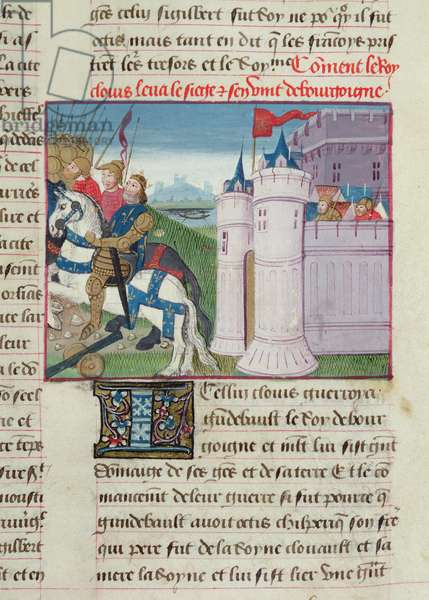 Ms 869/522 fol.17r Clovis lifting the siege of Avignon, where his wife Clotilde's uncle, Gondebaud, King of Burgundy, was besieged, 1217-37 (vellum)