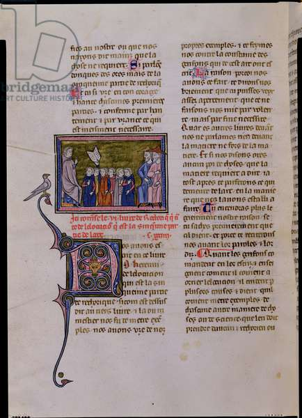 Ms 433/590 f.127  A Master Addressing Six Students and Two Adults, from 'Rhetoric' by Cicero (106-43 BC) (vellum)