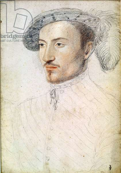 Portrait of an unknown man, possibly Guy de Laval (1521-1547) (pencil on paper)