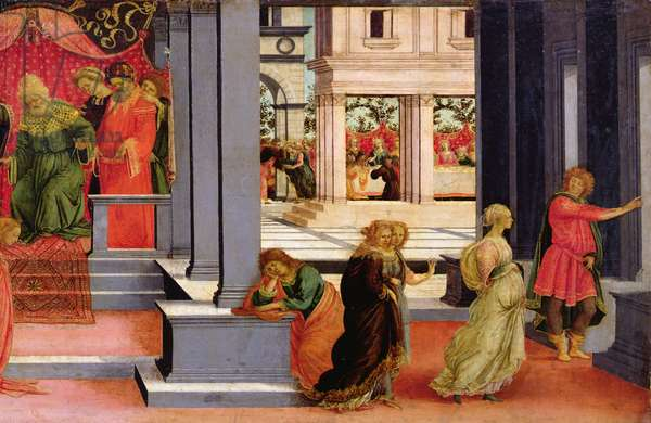 Esther Chosen by King Ahasuerus, detail of the right hand side depicting Queen Vashti sent from the Court, c.1475-80 (tempera on panel)