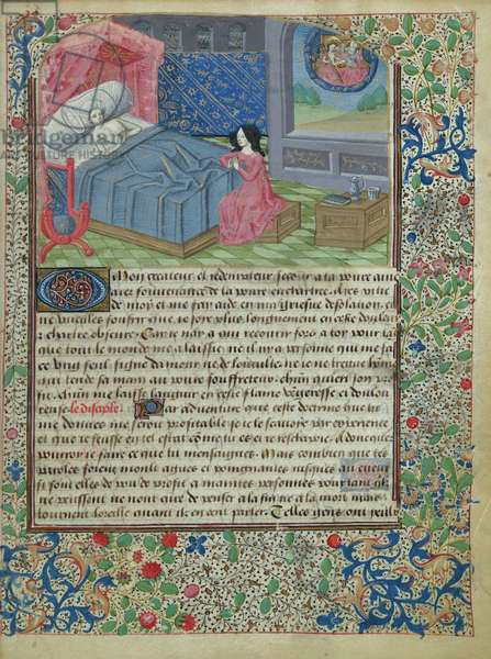 Ms 146/1513 f.8r A man prepares himself for death by praying, written by Jean Charlier de Gerson (1363-1429) (vellum)