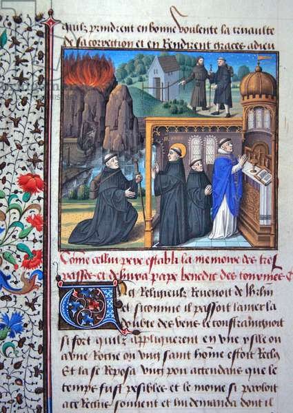 Ms 722/1196 fol.143, How St. Odile establishes the memory of the dead, from Le Miroir Historial by Vincent de Beauvais (vellum)