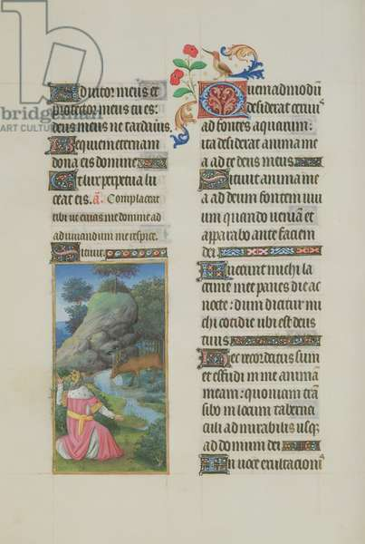 65/1284 fol. 97v, Psalm 41, David in prayer with deer drinking, from 'Très Riches Heures du Duc de Berry' (vellum)