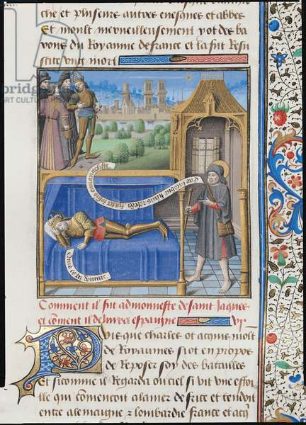 Ms 722/1196 f.107r Apparition of St. James to Charlemagne (742-814) from Le Miroir Historial, by Vincent de Beauvais (vellum)