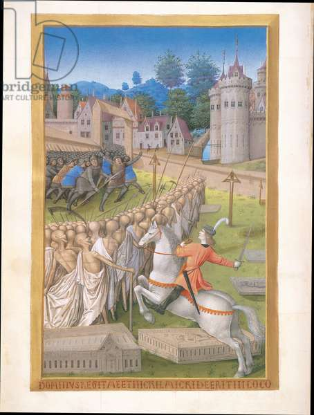 Ms 65/1284 f.90v Death, one of the Four Riders from the Apocalypse, from Tres Riches Heures du Duc de Berry, early 15th century (vellum)