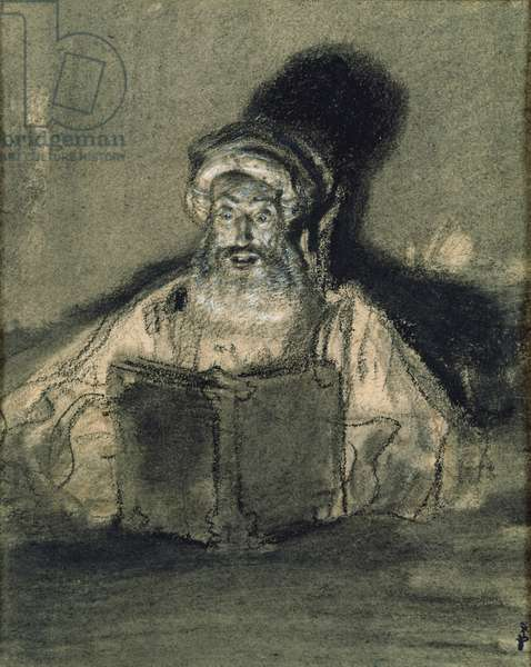 Man Reading (charcoal on paper)
