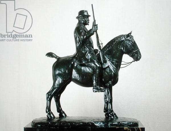 Henri d'Orleans (1822-97) Duc d'Aumale on his Horse, Pelagie, c.1897 (bronze)