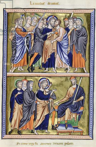 Ms 9/1695 fol.25 The Kiss of Judas and Jesus before Pilate, from the 'Psautier d'Ingeburg de Danemark', c.1210 (vellum)
