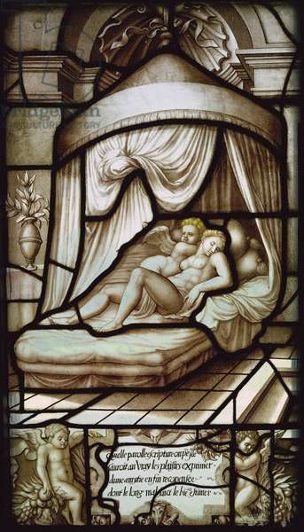 Window depicting Cupid and Psyche asleep, from the Galerie de Psyche, Chateau d'Ecouen, 1542-44 (stained glass)