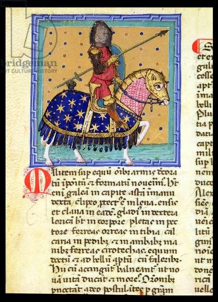 Ms 286/1075 fol.8v The Knight, from the Latin edition of 'Libellus de Moribus' written by Jacques de Cessoles (vellum)
