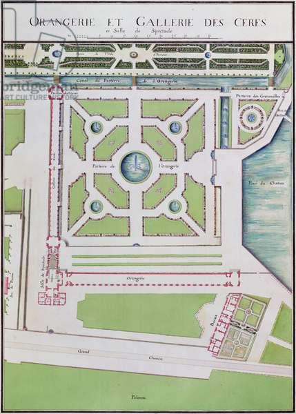 Orangerie and Galerie des Cerfs, fol.10 from 'Atlas du Comte du Nord', 1784 (w/c & ink on paper)