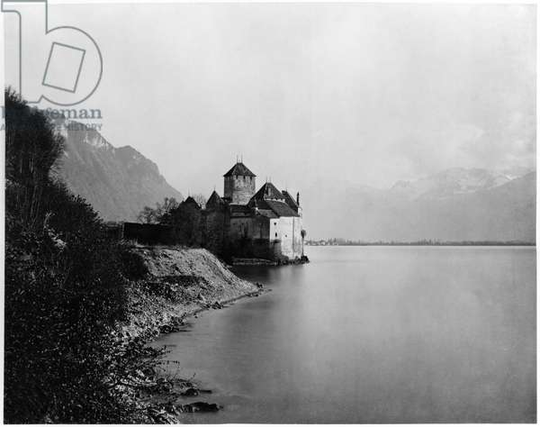 View of the Chateau de Chillon and Lake Leman, c.1863-65 (albumen print from a glass negative) (b/w photo)