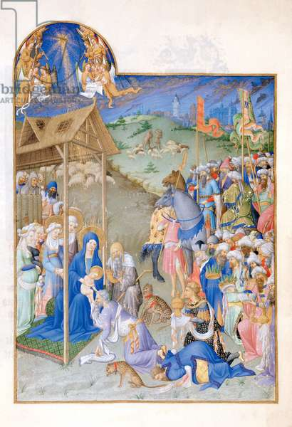 Ms 65/1284 fol.52r Adoration of the Magi, from the 'Tres Riches Heures du Duc de Berry' (vellum)
