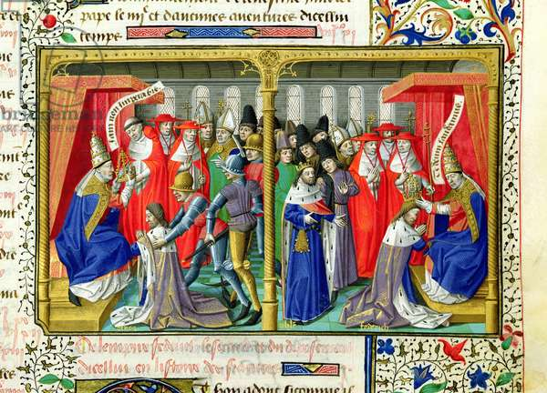 Ms 722/1196 f.392r Frederic II (1194-1250) crowned by Pope Honorius III (d.1227) from Le Miroir Historial, by Vincent de Beauvais (vellum)