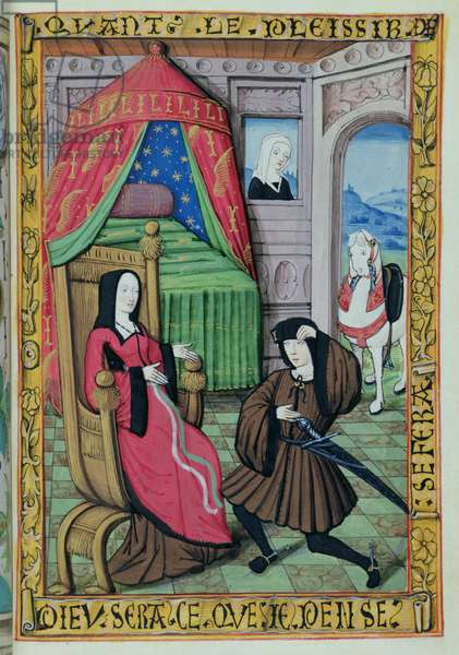 Ms 388/1475 f.12r A man kneeling before a woman in a bedroom (vellum)