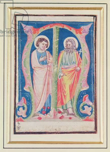 Historiated initial 'M' depicting two apostles, from a choir book (vellum)