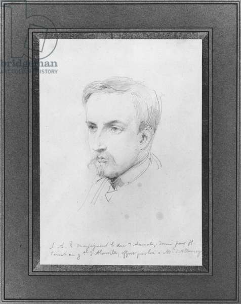Henri of Orleans (1822-97) Duke of Aumale (pencil on paper)