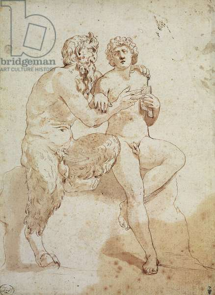 A satyr teaching a youth to play the pipes (brown ink & wash on paper)