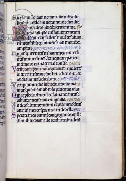 Ms 9/1695 fol.91r Beginning of Pslam 62 'Nonne Deo', from the 'Psautier d'Ingeburg de Danemark', c.1210 (vellum)