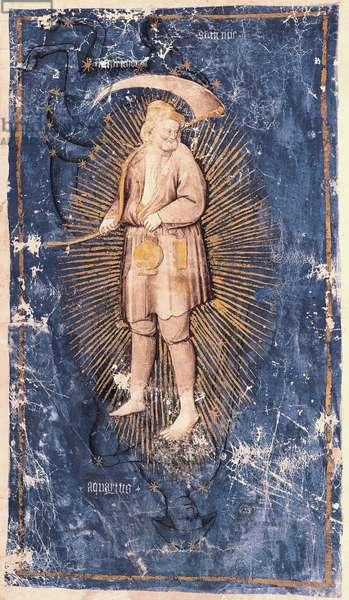 Ms 754/1425 Aquarius, from 'Historia Troianorum' (vellum)