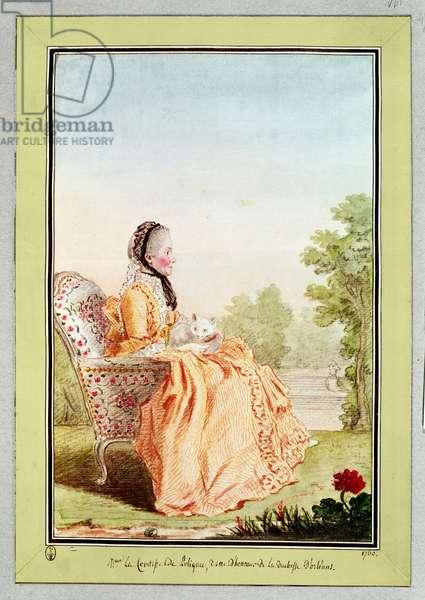 Madame la Comtesse de Polignac, Dame d'Honneur to the Duchesse d'Orleans, 1760 (pencil, w/c & gouache on paper)