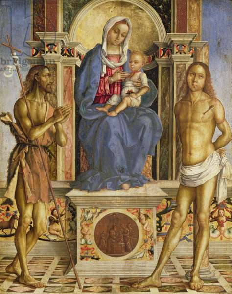 The Virgin and Child Enthroned with St. John the Baptist and St. Sebastian (oil on panel)