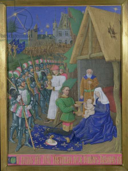 Ms 71 f.9 Adoration of the Magi, from the 'Hours of Etienne Chevalier', c.1445 (vellum)