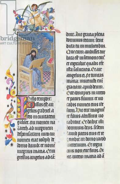 Ms 65/1284 f.18v St. Luke Writing his Gospel, from the Tres Riches Heures du Duc de Berry, early 15th century (vellum)