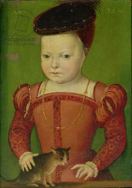 Portrait presumed to be Charles IX (1550-74) playing with a cat, 1553 (oil on panel)