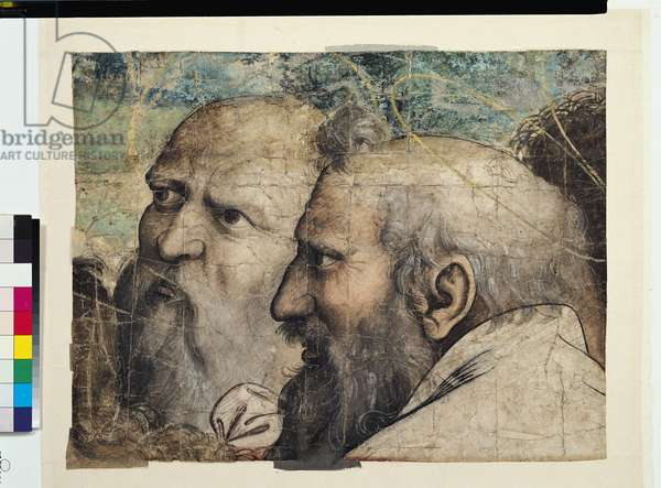 Two Heads, study for St. Peter Receiving the Keys to Heaven (fresco) (detail)