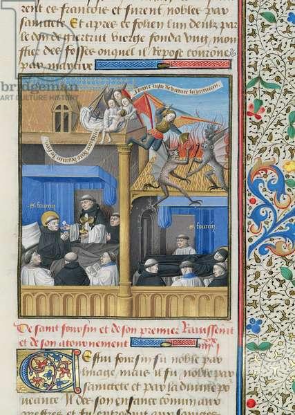 Ms 722/1196 fol.70r The Death of St. Fursey (c.567-648) from Le Miroir Historial, by Vincent de Beauvais (vellum)