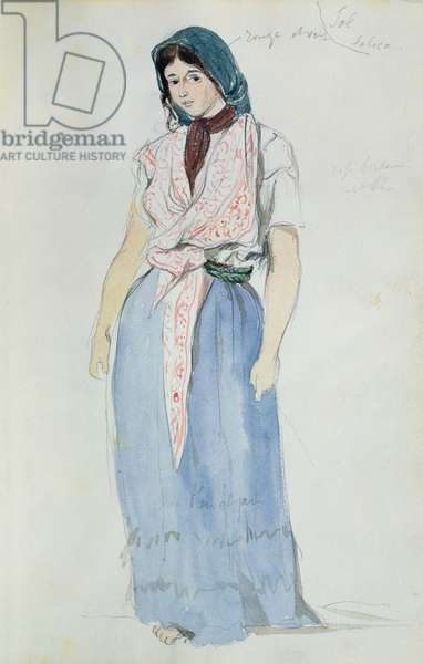 Young woman in traditional dress, standing, from 'Carnet du Maroc', 1832 (w/c on paper)