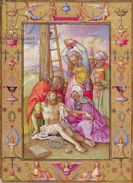 Ms 39/1601 The Lamentation, from 'Passio Domini Nostri Jesu Christi Secundum Joannem' (vellum)