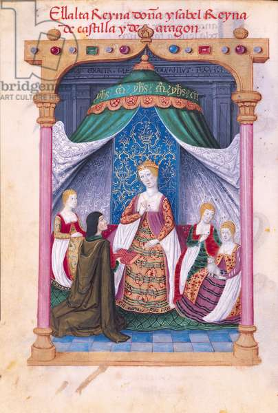 Ms 604/1339 f.54v Isabella of Castile being presented with the manuscript by the author, Marcuello, from the 'Devotionary of Queen Juana the Mad', c.1482