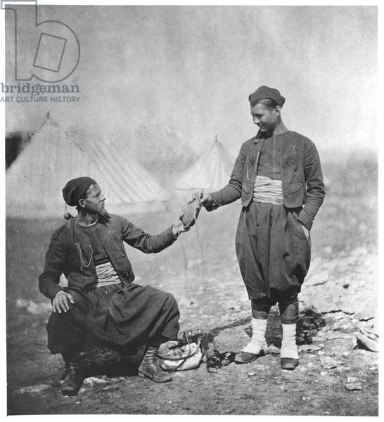 Two Soldiers from the Crimean War, c.1855-56 (b/w photo)