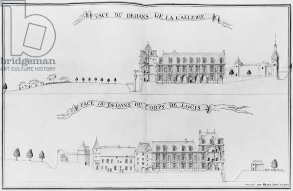 Chateau de Vallery, facades, illustration from the 'Recueil des plans de Bourgogne, du Berry, etc...', 1682 (pencil & w/c on paper) (b/w photo)