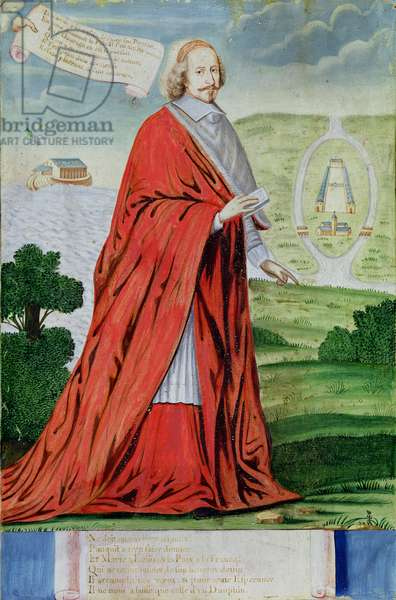 Cardinal Mazarin (1602-61) near the Ile des Faisans (w/c on paper)