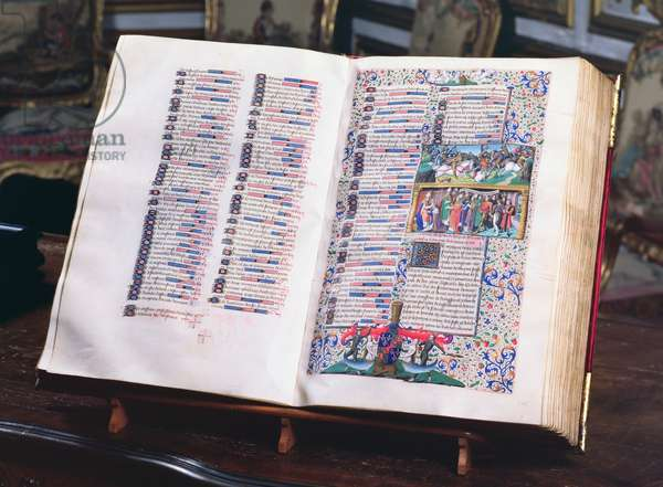 Ms 722/1196 fol.244v and 245r Two pages from the manuscript, from Le Miroir Historial, by Vincent de Beauvais (vellum)