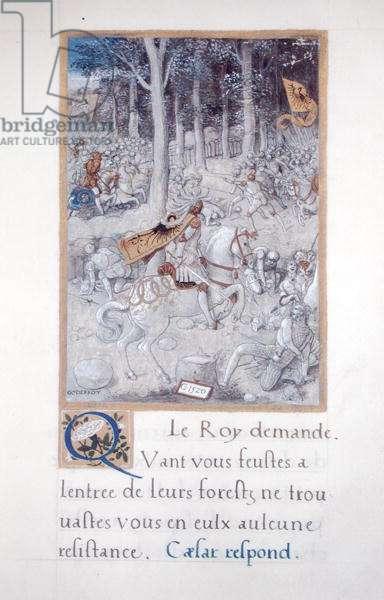 Ms 764/1139 vol.3 fol.52 A Battle Scene, from 'Les Commentaires de la Guerre Gallique' by Francois Demoulins, 1520 (vellum)