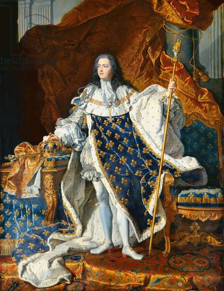 Louis XV (1710-74) in Coronation Robes, 1742 (oil on canvas)