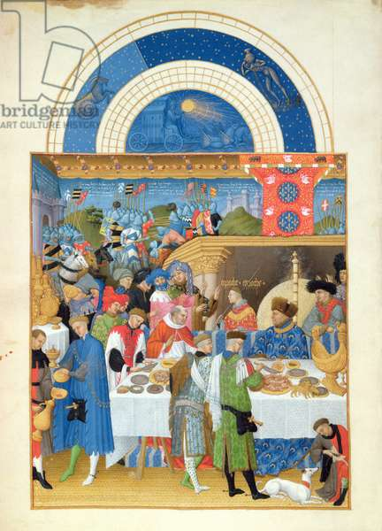 Ms 65/1284 f.1v January: Banquet Scene, from the 'Tres Riches Heures du Duc de Berry' (vellum) (for facsimile copy see 65833)