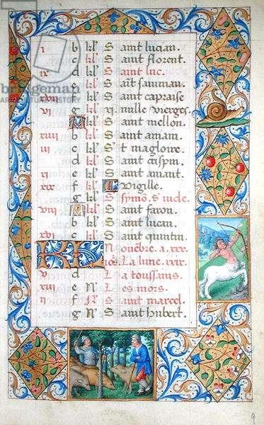 Ms 81/1057 The Month of November: Sagittarius and Gathering Acorns, from the 'Heures de Nicolas Le Camus' (vellum)