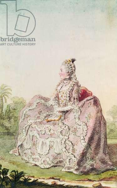 Comtesse de Vareilles 1758 (pencil, w/c & gouache on paper)