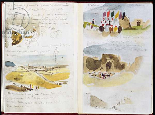 fol.17 v, 18 r, Group of Cavaliers and a View of Meknes, from 'Album of a Voyage to Spain, Morocco and Algeria', 1832 (w/c and pencil on paper)