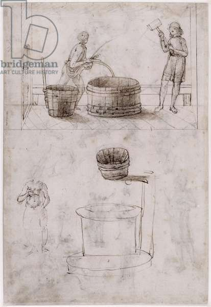 Sheet of studies with two coopers making a vat (verso) (pen & ink & black lead & bistre on paper)