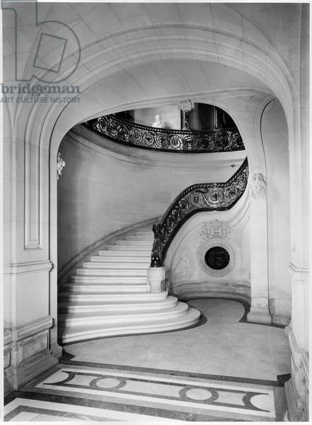 View of the staircase, Chateau de Chantilly (b/w photo)