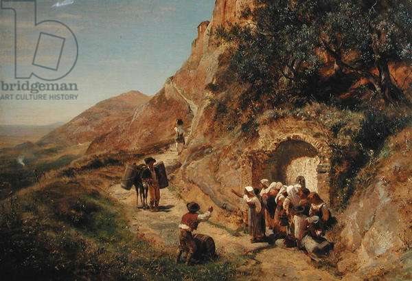 In Abruzzi or, The Fountain on the Outskirts of Rome, 1863 (oil on canvas)