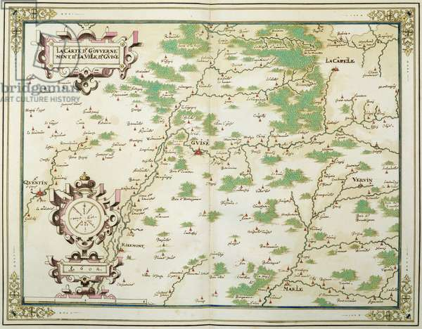 Map of Picardie, Boulonnois, Artois and Reconquered Territory, Government of the Town of Guise, 1602-03 (colour engraving)