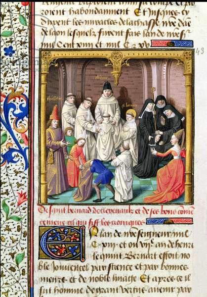 Ms 722/1196 f.209v St. Bernard de Clairvaux (1090-1153) from Le Miroir Historial, by Vincent de Beauvais (vellum)